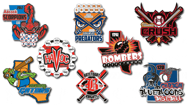 Example of some of our baseball trading pins